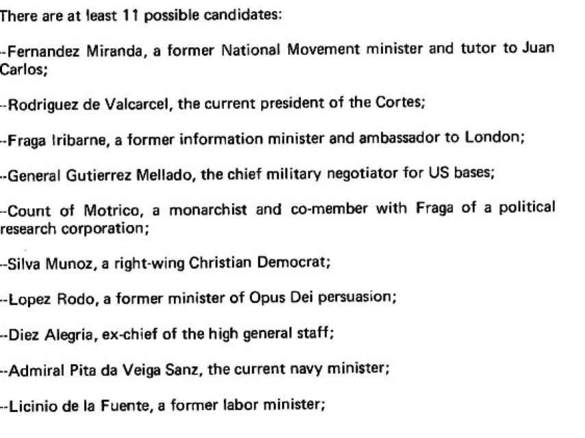 La lista de candidatos de la CIA.