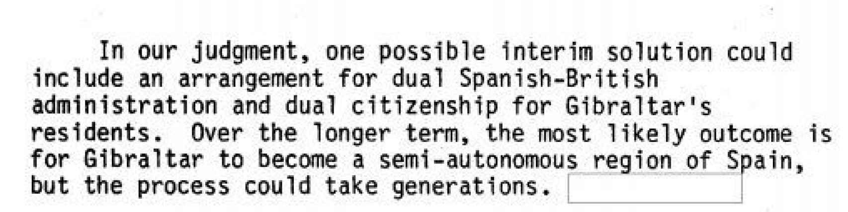 Parte del informe sobre Gibraltar.