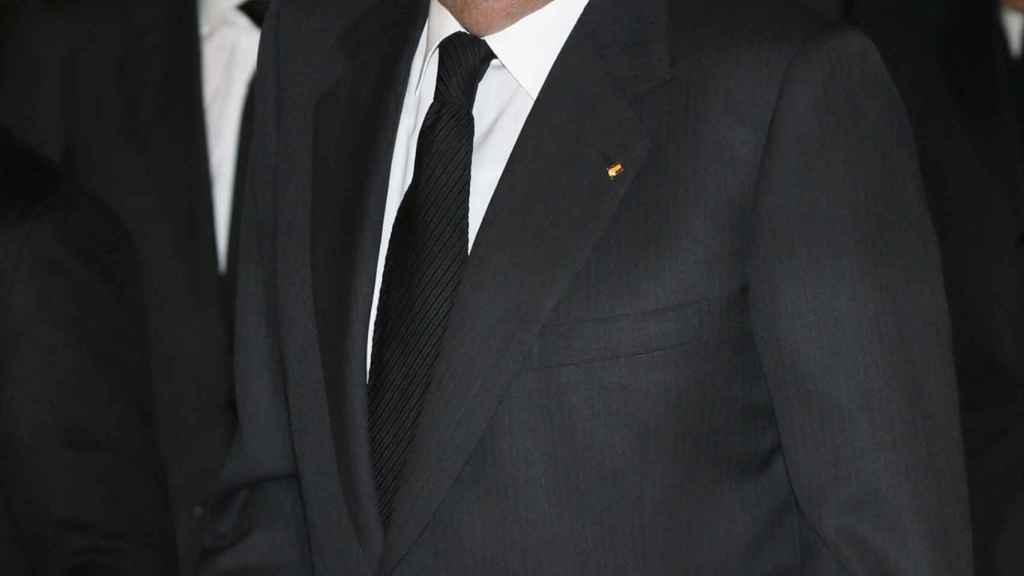 El rey Juan Carlos al finalizar el funeral por el expresidente del Banco de Bilbao y BBV José Ángel Sánchez Asiain, el pasado 13 de enero en la iglesia San Fermín de los Navarros