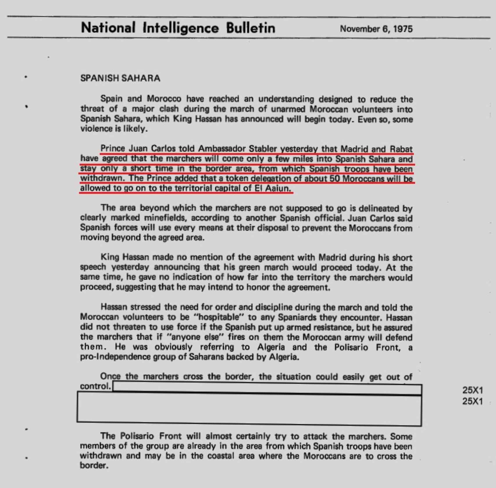 Extracto del documento de la CIA.