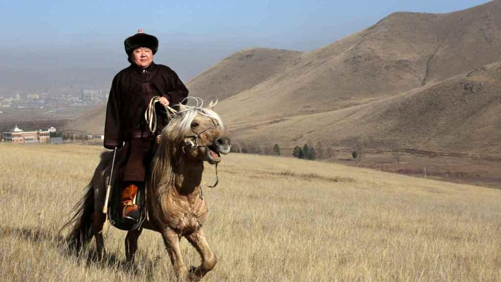 El presidente de Mongolia sobre un caballo mongol.