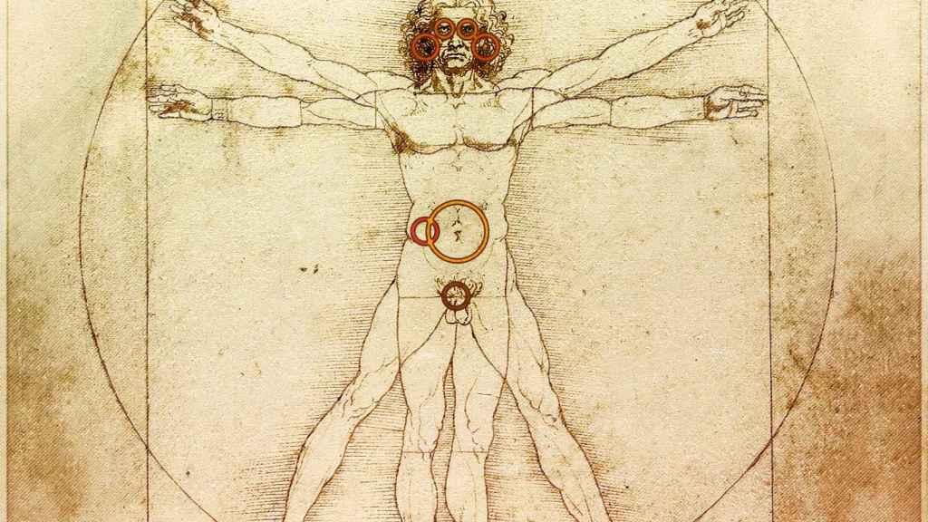 El hombre de Vitruvio, con los rincones marcados.