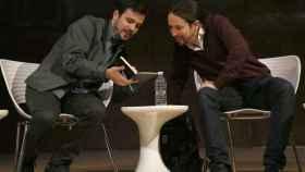 Alberto Garzón y Pablo Iglesias este viernes en Madrid.
