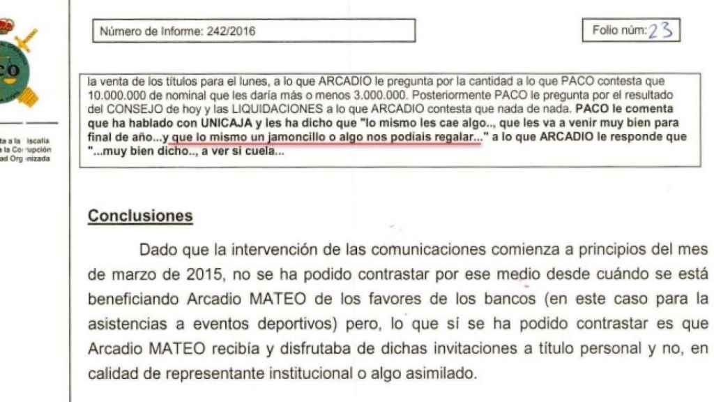Fragmento del informe de la UCO sobre estas operaciones.