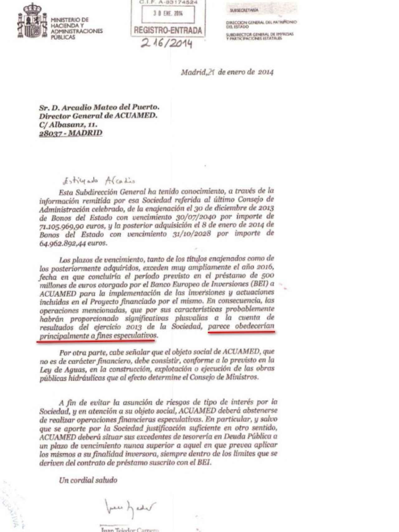 Carta remitida a Acuamed por parte de Hacienda.