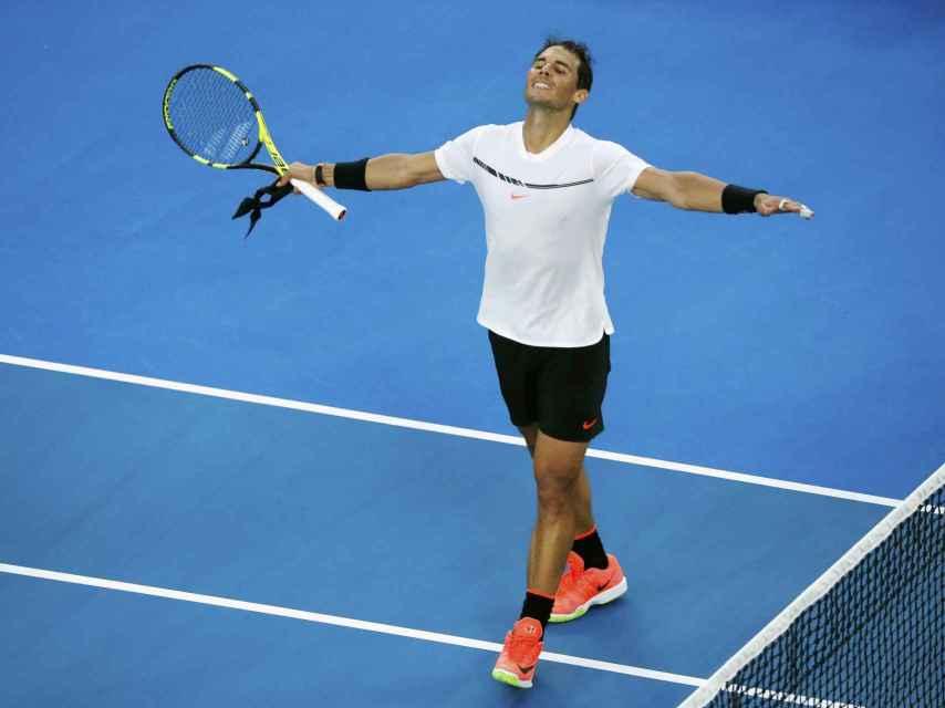 Nadal celebrando su victoria contra Zverev.