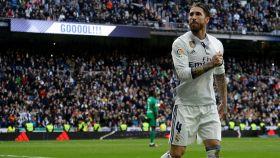 Sergio Ramos en el partido ante el Málaga.