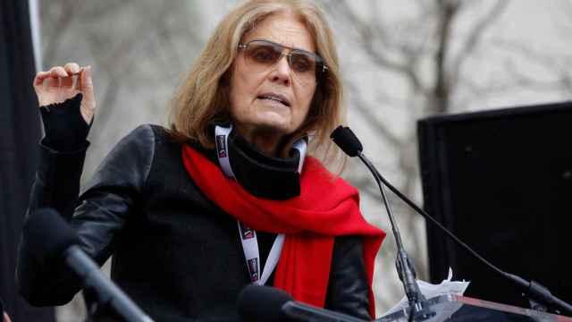 La escritora feminista Gloria Steinem, durante su discurso en Washington.