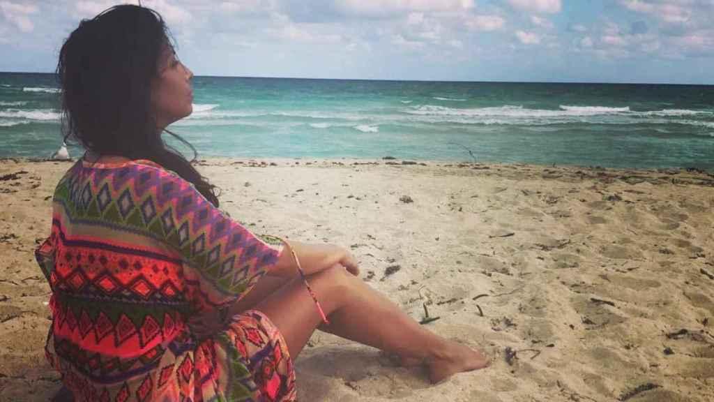 Sara Verdasco en una playa en Miami.
