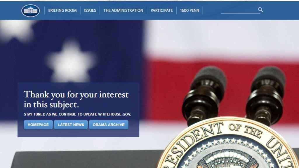 La web en español de la Casa Blanca sigue desactivada, pero con mensaje nuevo.