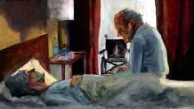 Recreación de un anciano cuidando de su esposa enferma de alzhéimer a partir de un fotograma de la película 'Amour', de Michael Haneke.