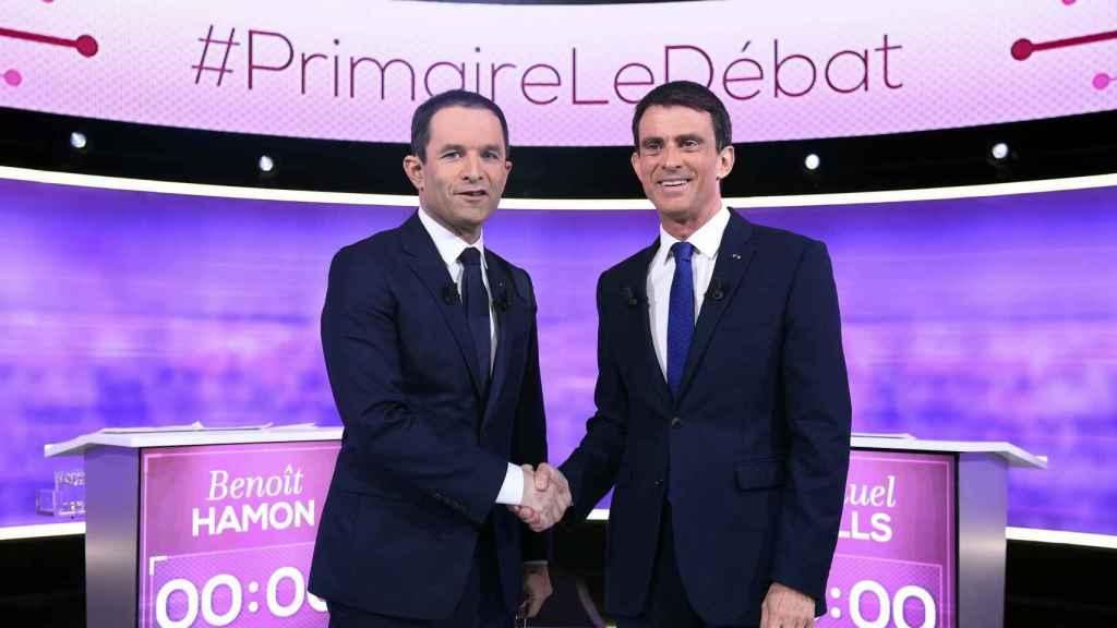 Hamon y Valls, en uno de los debates de esta campaña.