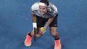 Roger Federer celebra su victoria en el Open de Australia.