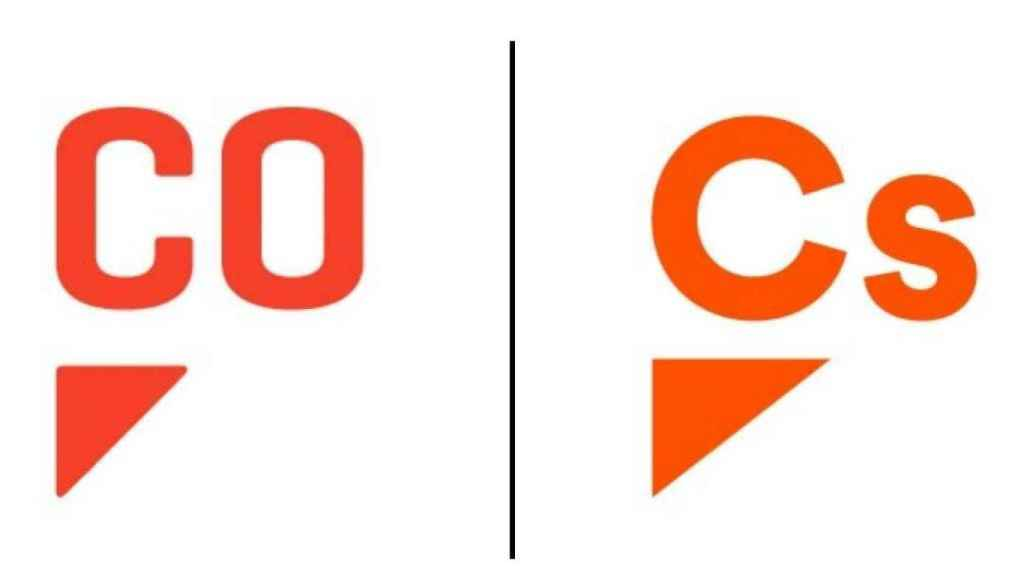 A la izquierda, el logo de Comuniza; a la derecha, el nuevo de Ciudadanos.