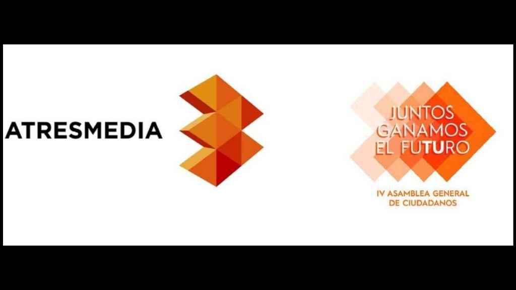 El logo de Atresmedia y el del congreso de Ciudadanos.