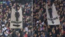 Pancartas en el partido entre Olympique de Lyon y Lille.