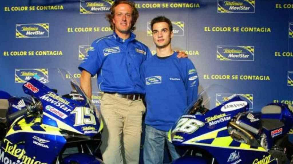 Sete y Pedrosa en 2003, cuando ambos compartían el patrocinio de Telefónica Movistar.