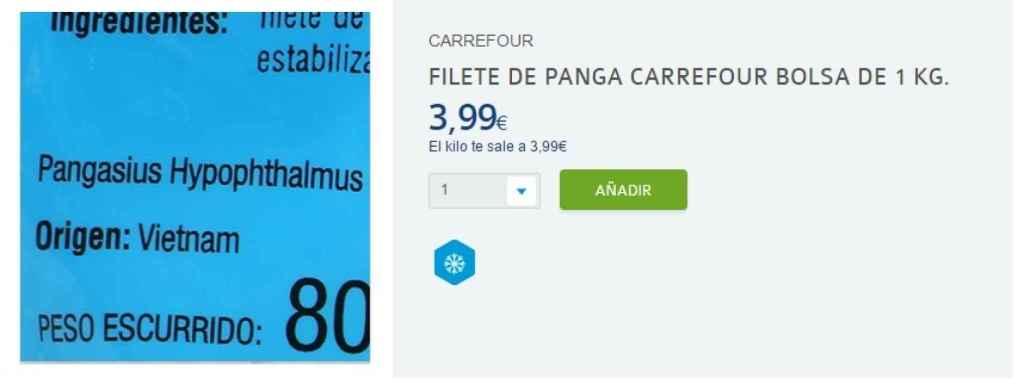 Anuncio de panga, origen Vietnam, en Carrefour.