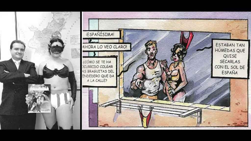 Carles Recio y la modelo que interpretó a Fallarela, junto con una viñeta de Españísima