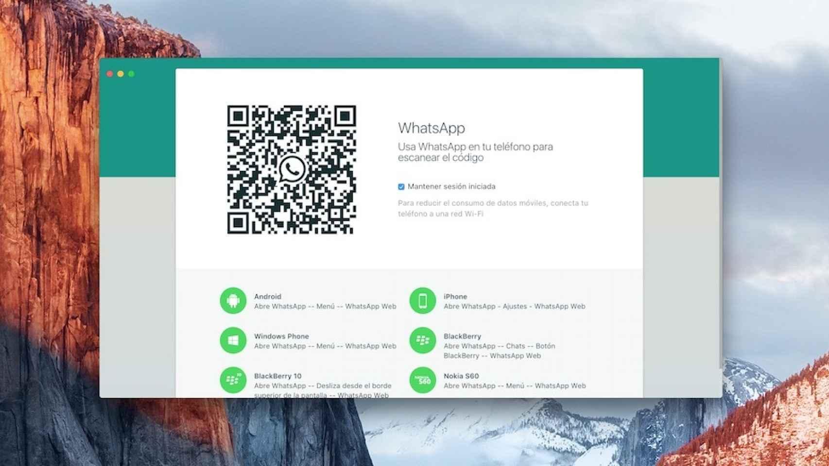 WhatsApp en un Mac.