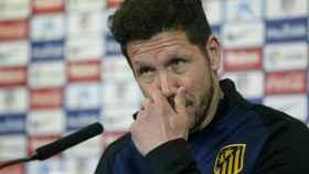 Simeone, durante la rueda de prensa.