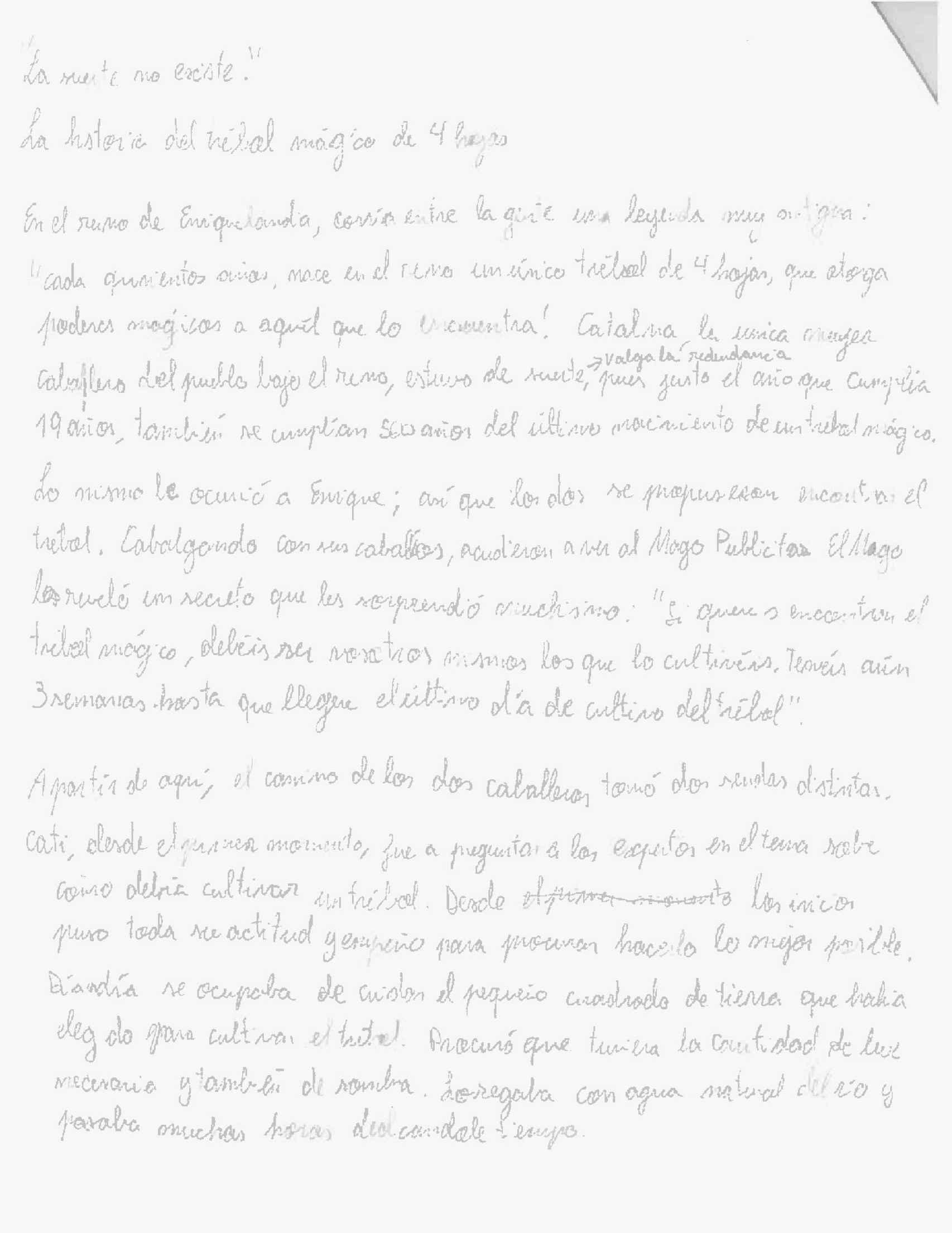 Primera parte del relato que Enrique Ruiz escribió en su examen de Publicidad.