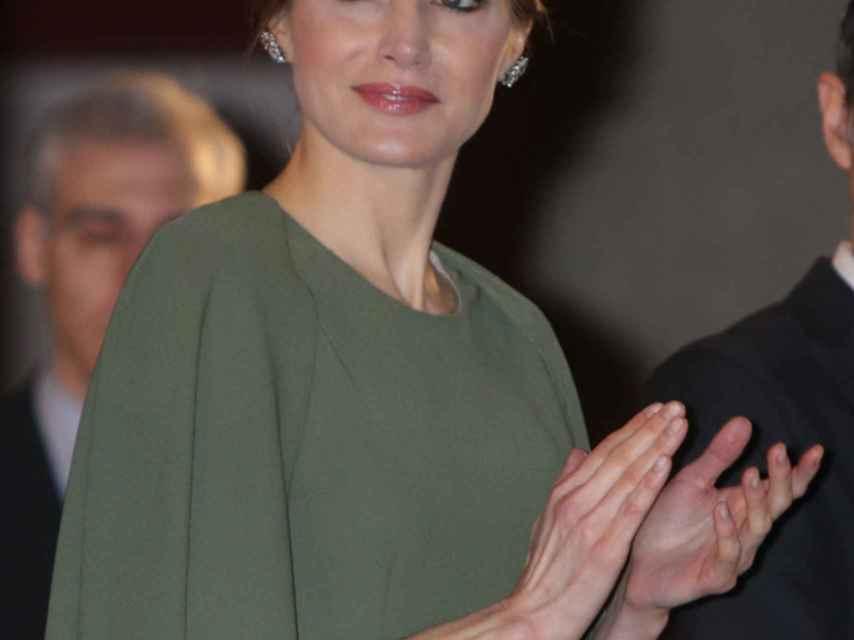 La reina Letizia, este lunes por la mañana en Alcalá de Henares (Madrid).