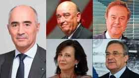 Rafael del Pino (Ferrovial), José Lladó (Técnicas Reunidas), Gabriel Escarrer (Meliá), Ana Botín (Banco Santander), y Florentino Pérez (ACS).