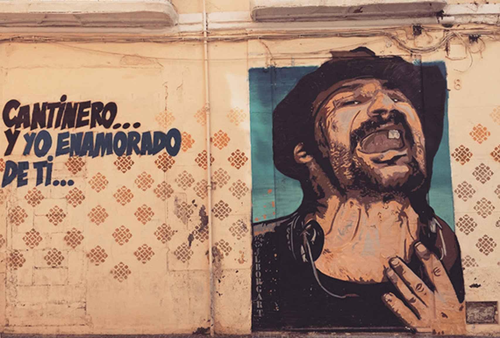 Grafiti del barrio Lagunillas. Uno de los personajes míticos de Málaga: el cantinero, el Príncipe Gitano.