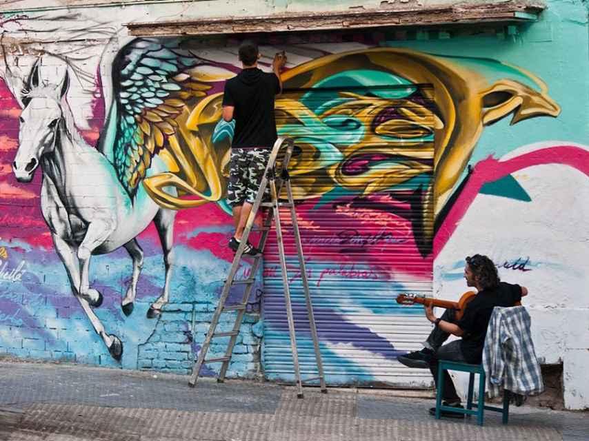 Grafitis en el barrio de Lagunillas, Málaga.