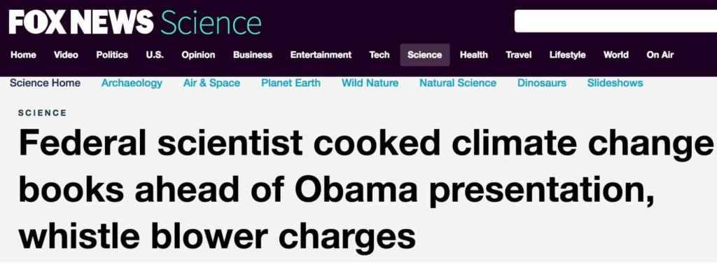 Titular de Fox News tras la exclusiva del Daily Mail sobre la NOAA.