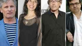 De izquierda a derecha, Viggo Mortensen, Ariadna Gil, David Trueba y Javier Cercas.