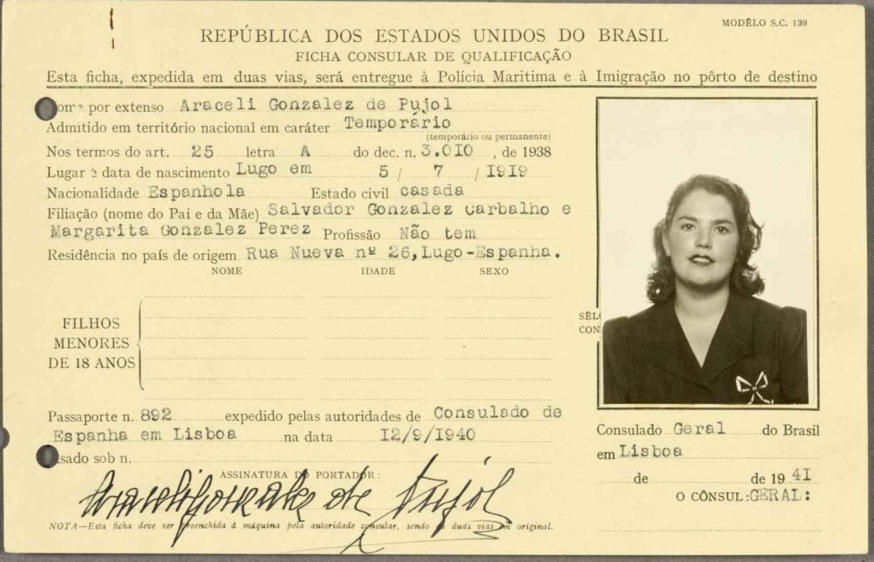 Ficha de identificación de Araceli González, desclasificada por los servicios secretos británicos.