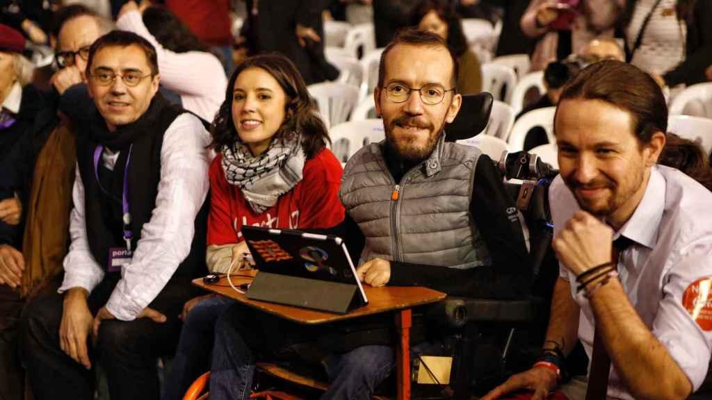 Pablo Iglesias, junto a Juan Carlos Monedero, Irene Montero y Pablo Echenique, en Vistalegre II.