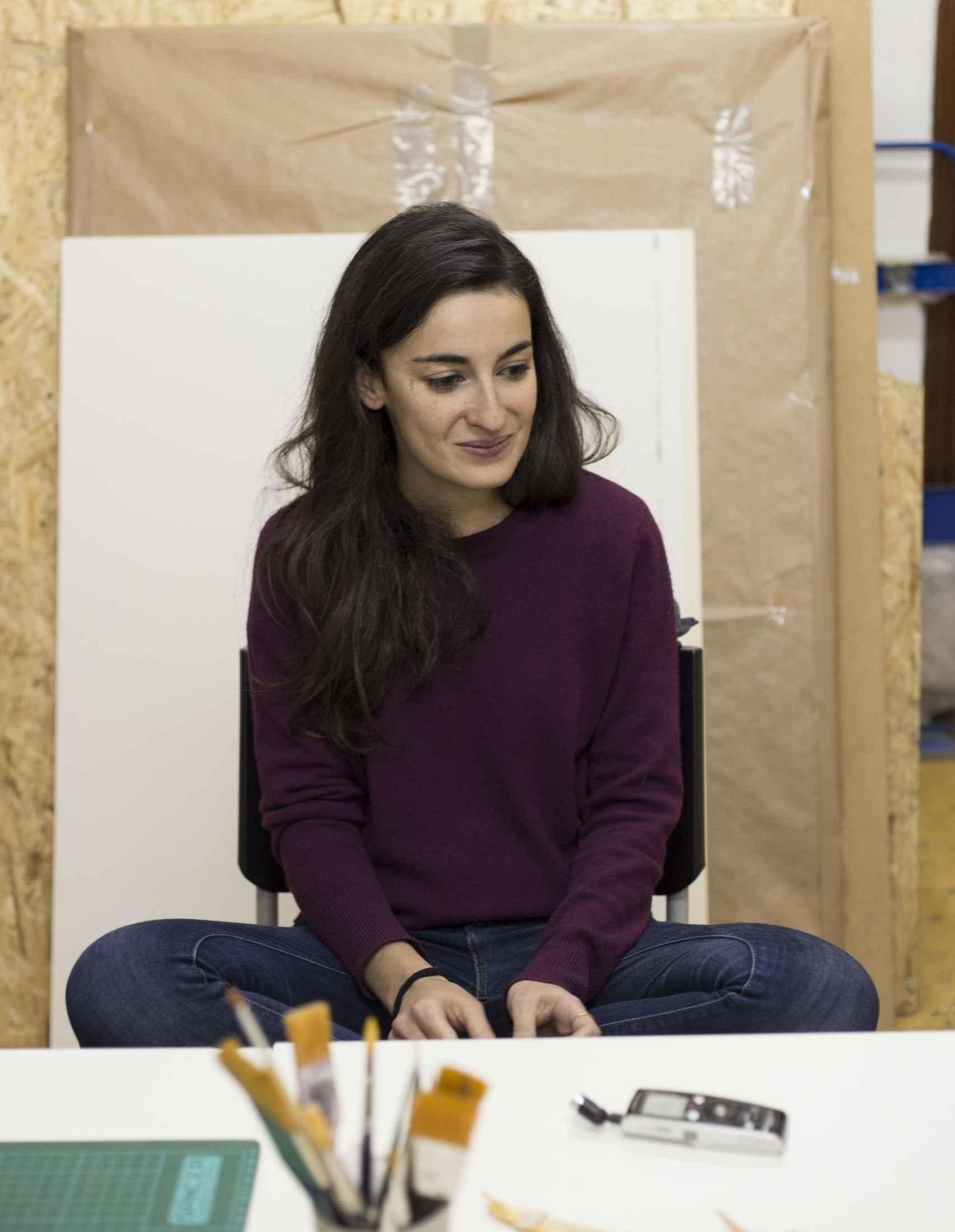 La pintora Blanca Gracia en su estudio.