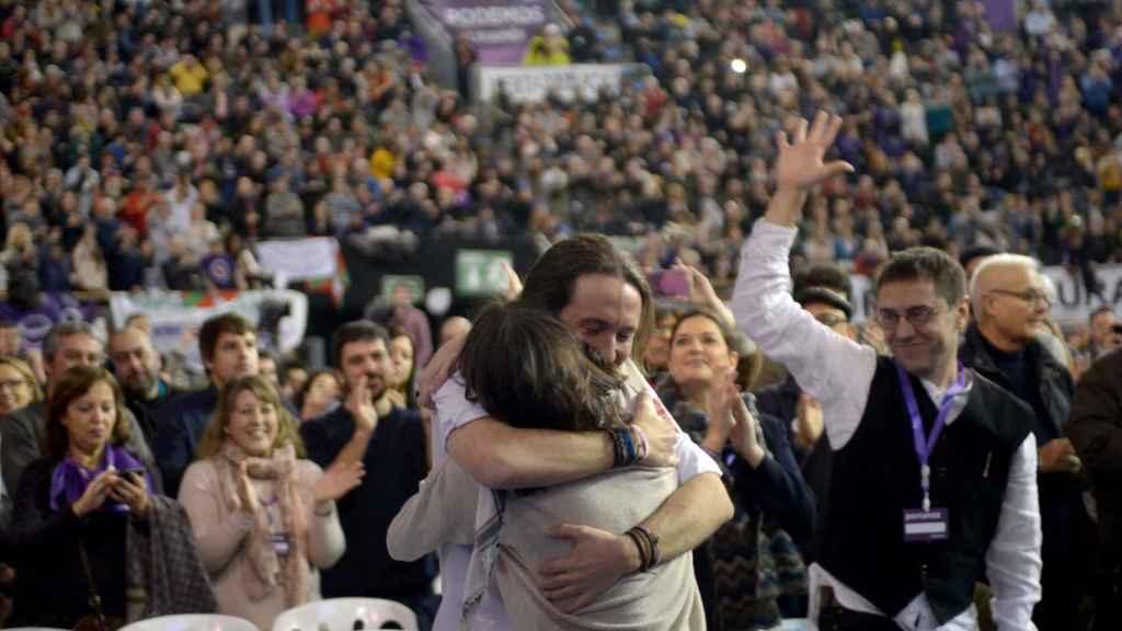 Pablo Iglesias e Irene Montero durante el segundo congreso ciudadano de Podemos en Vistalegre II.