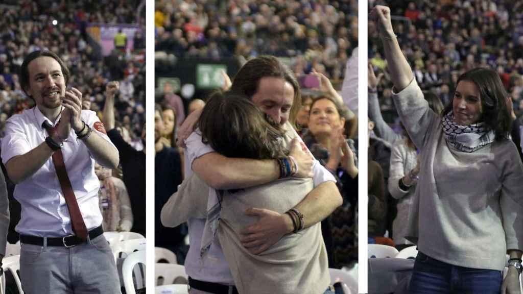 Pablo Iglesias e Irene Montero en la asamblea ciudadana de Podemos