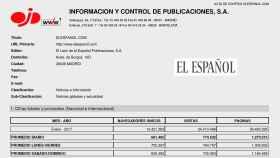 Documento de la OJD que certifica que EL ESPAÑOL tuvo 13,4 millones de lectores en enero.