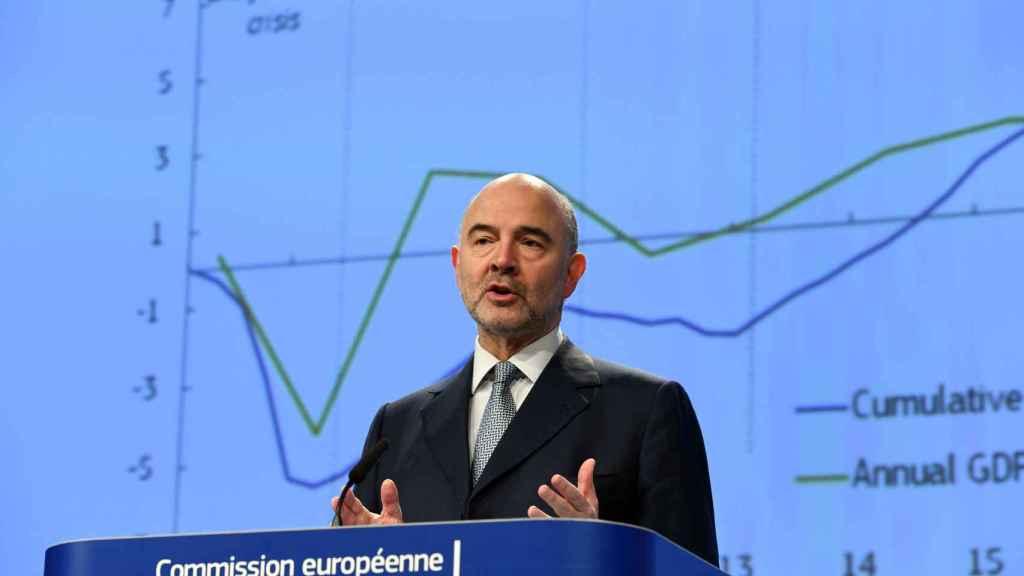 El comisario de Asuntos Económicos, Pierre Moscovici, en rueda de prensa