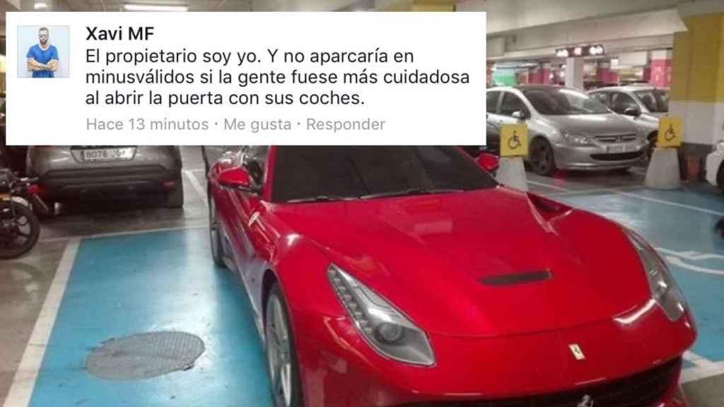 El mensaje que uno de los socios de Hawkers escribió después de aparcar su Ferrari en una plaza para discapacitados.