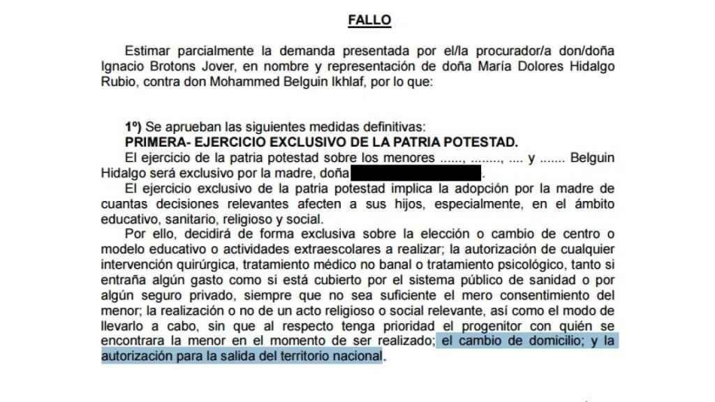 Fallo del auto que le permitía a la yihadista sacar a sus hijos de España.