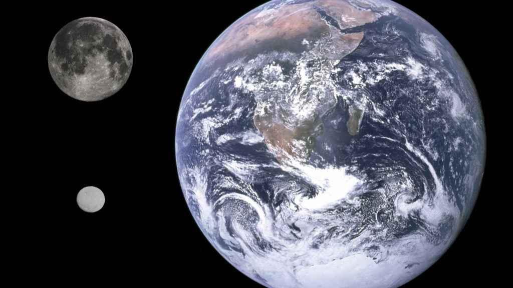 Comparación entre Ceres, la Luna y la Tierra.