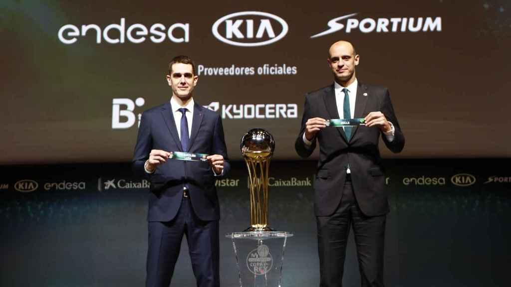 Rodrigo de la Fuente y Carlos Jiménez en el sorteo de la Copa del Rey.