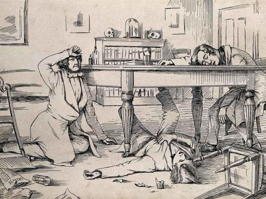 Dibujo de la época que ilustraba los efectos del cloroformo.
