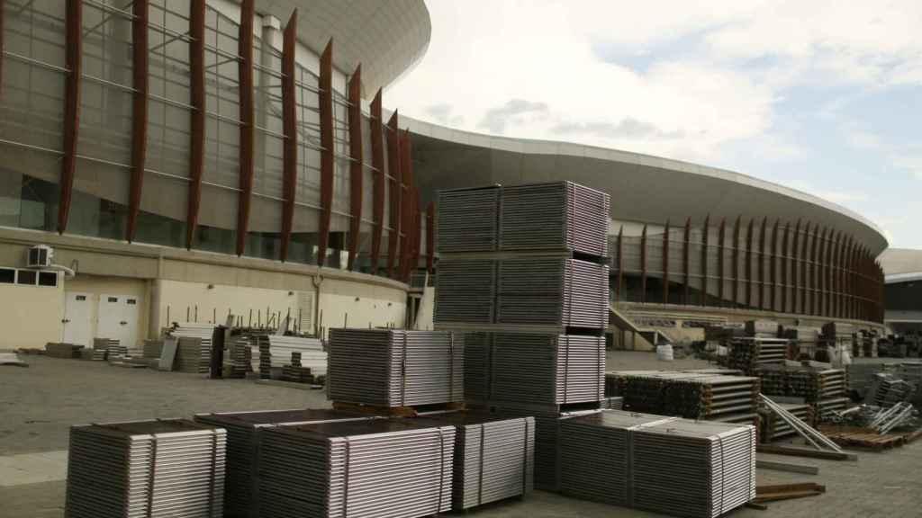 El Arena Carioca de Río, con varias piezas desmontadas y apiladas.