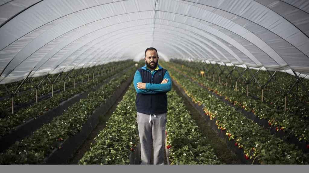Jose Manuel en uno de sus invernaderos.