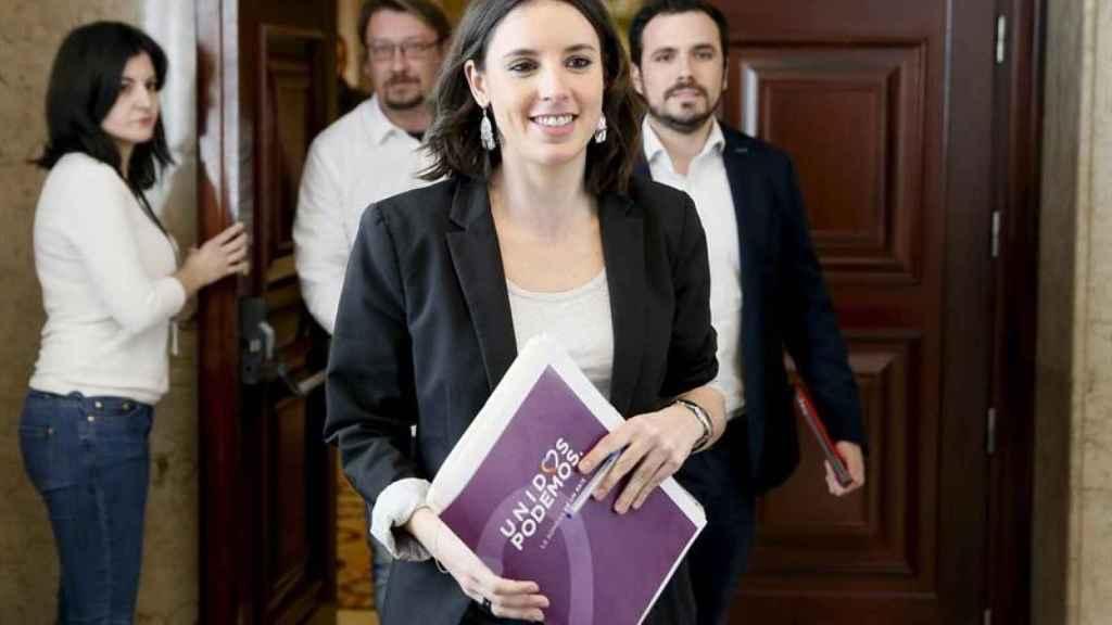 Irene Montero acude a su primera Junta como portavoz de Podemos en el Congreso.