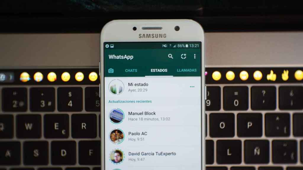 WhatsApp statuses on an Android mobile.