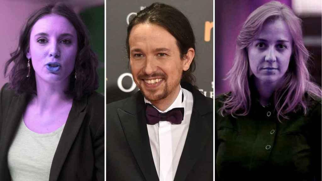 Irene Montero, Pablo Iglesias y Tania Sánchez, de Podemos.