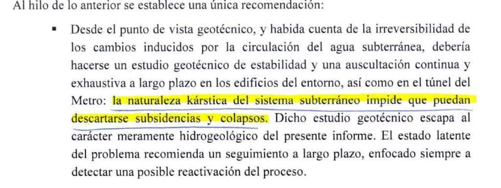 Extracto del informe hidrogeológico del terreno, realizado en 2008.